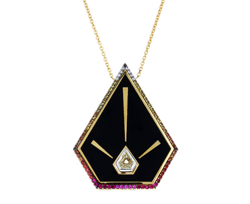 Enamel Blaze Pyramid Pendant Necklace with Brown Diamond - TWISTonline