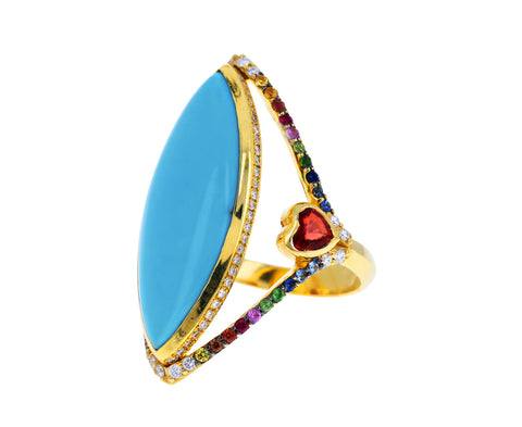 Turquoise and Rainbow Sapphire Ring
