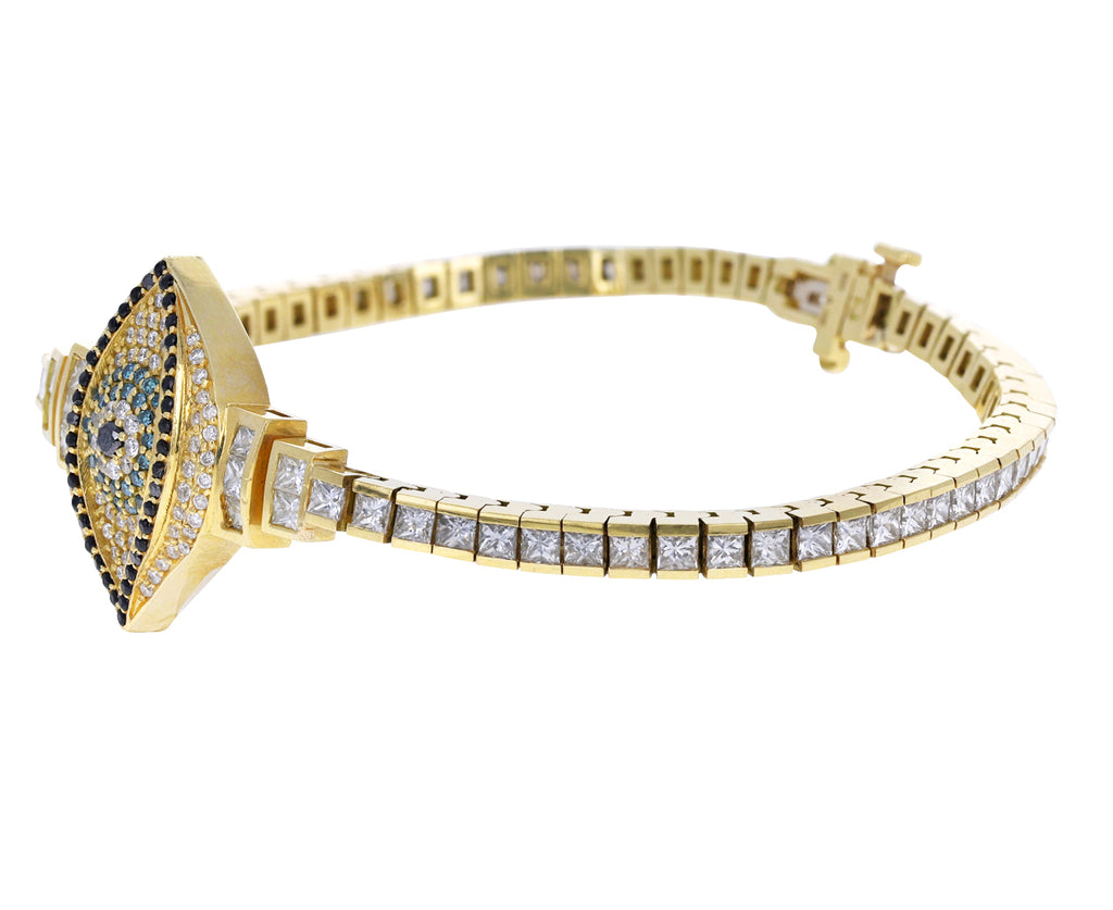 Yellow Gold Diamond Evil Eye Bracelet