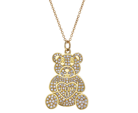 Diamond Teddy Bear Necklace