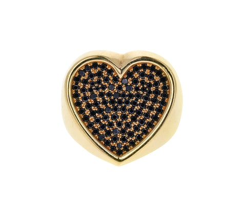 Black Diamond Heart Ring
