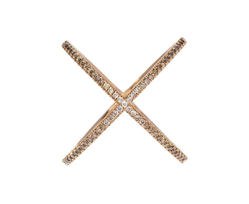 Ombre Champagne Diamond X Ring - TWISTonline