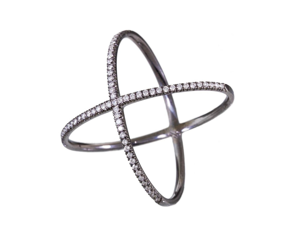 White Diamond 'X' Ring on Blackened White Gold - TWISTonline