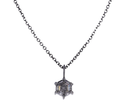 Hexagon Gray Diamond Pendant Necklace