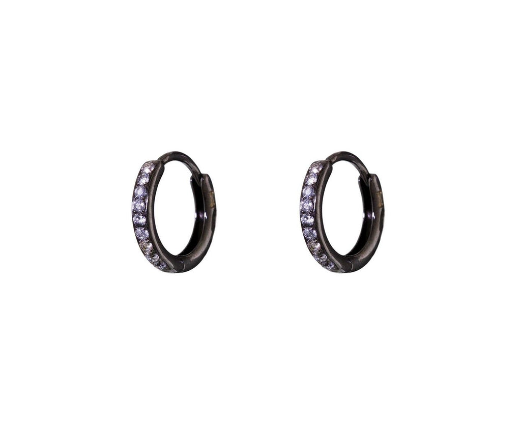 Tiny Gray Diamond Huggie Hoops - TWISTonline