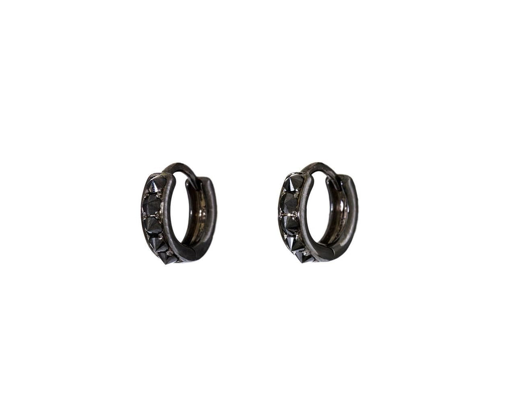 Inverted Black Diamond Blackened Huggie Hoops - TWISTonline