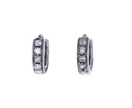 Gray Diamond Huggie Hoop Earrings