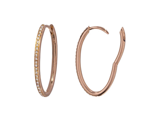 Champagne Diamond Oval Huggie Hoops