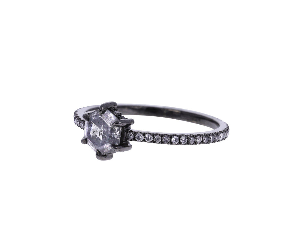 Hexagon Gray Diamond Solitaire