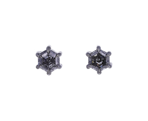 Hexagon Gray Diamond Stud Earrings