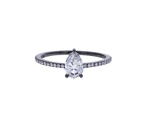 Brilliant Cut Pear Diamond Solitaire Ring