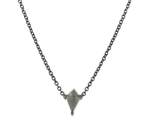 Gray Elongated Kite Shaped Diamond Ezzat Pendant Necklace