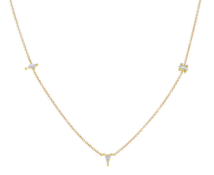 Geometric White Diamond Chain Necklace