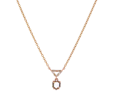 Champagne Geometric Portrait Cut Diamond Necklace