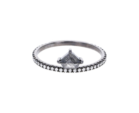 Gray Shield Shaped Off Set Kent Diamond Ring