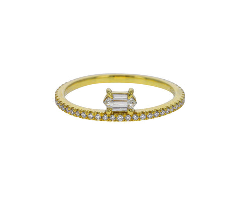 Elongated Hexagon Diamond Off Set Ring