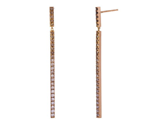 Ombre Champagne Diamond Line Earrings - TWISTonline