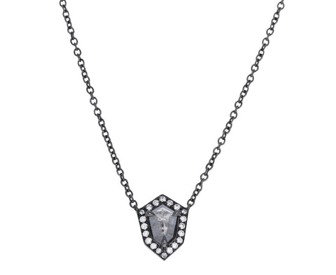 Elongated Shield Gray Diamond Warrior Pendant Necklace
