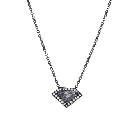 Elongated Shield Gray Diamond Kent Pendant Necklace