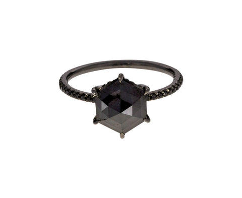 Hexagonal Black Diamond Solitaire - TWISTonline