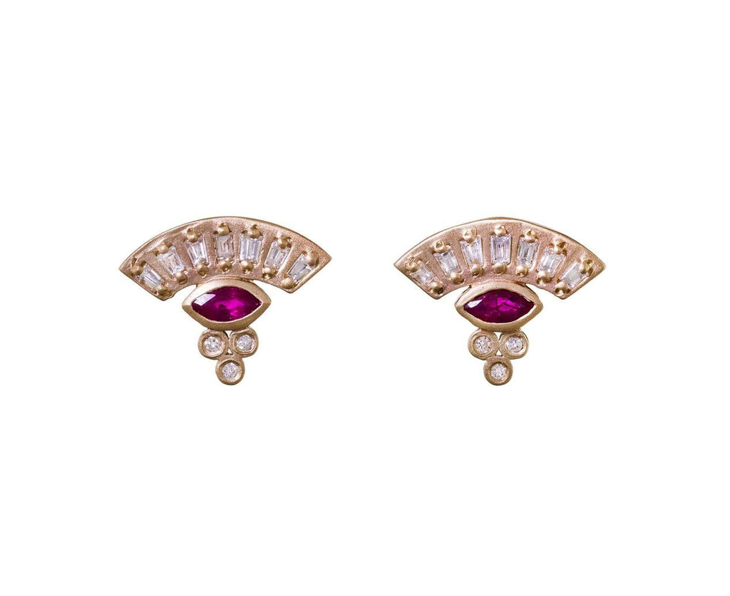 Diamond and Ruby Fan Earrings - TWISTonline