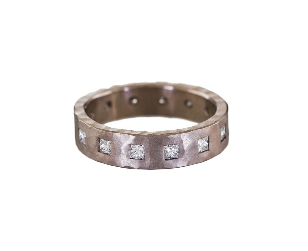 White Gold Hammered Band with Princess Cut Diamonds - TWISTonline