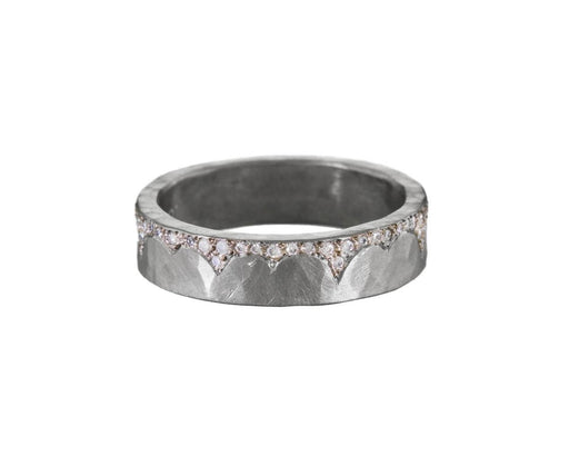 White Gold Diamond Edged Flat Band - TWISTonline
