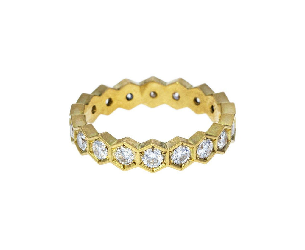 Yellow Gold Hexagonal Diamond Band zoom 1annie_fensterstock_gold_diamond_vintage_hex_ring