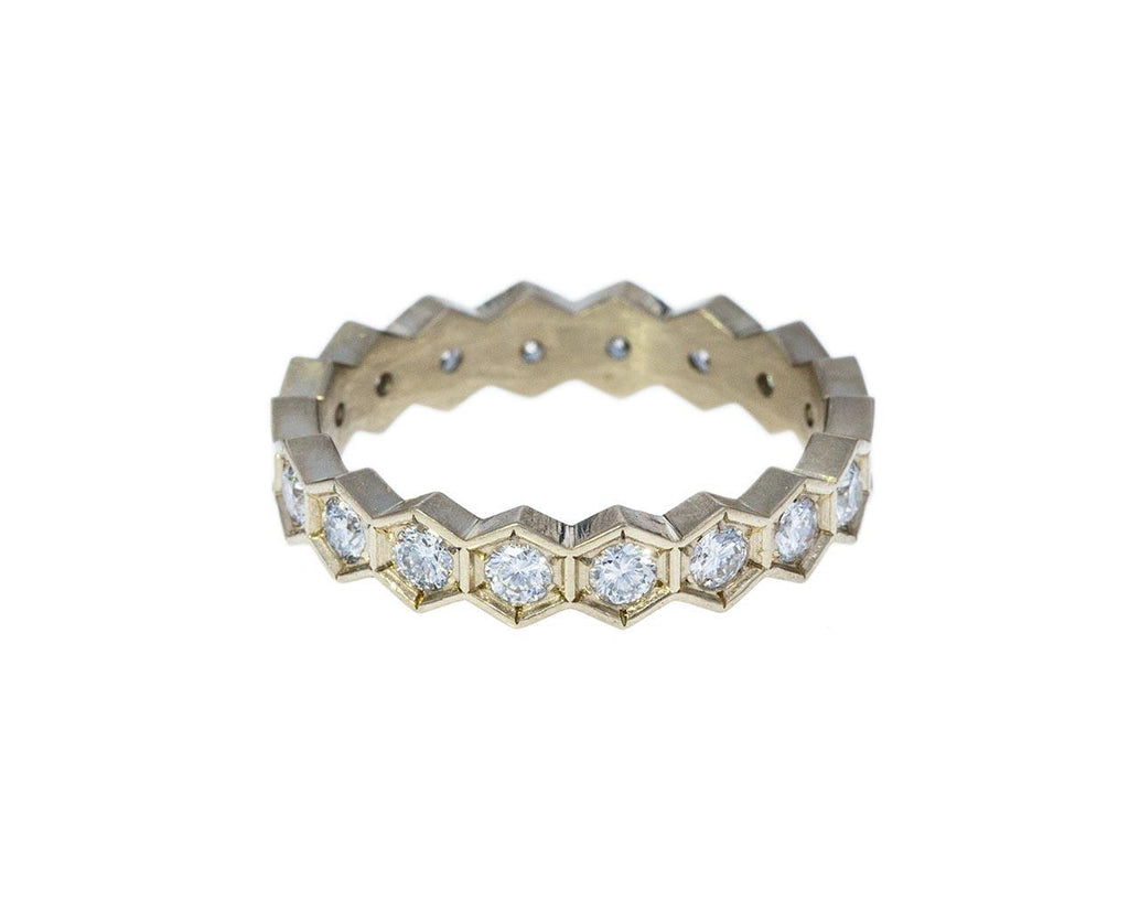White Gold Hexagonal Diamond Band - TWISTonline