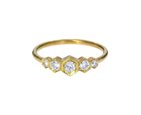 Yellow Gold Five Diamond Hex Ring zoom 1annie_fensterstock_gold_diamond_five_hex_ring