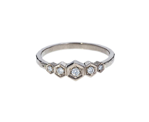 White Gold Five Diamond Hex Ring - TWISTonline