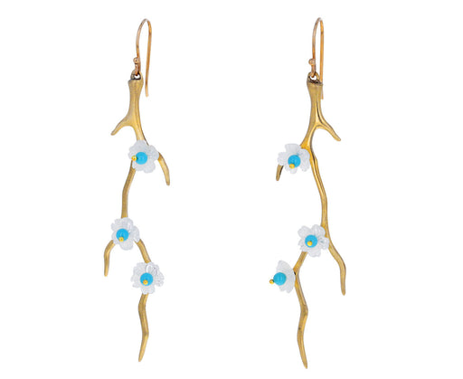 Mother of Pearl and Turquoise Dogwood Branch Earrings