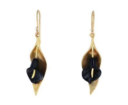 Black Onyx Calla Lily Earrings