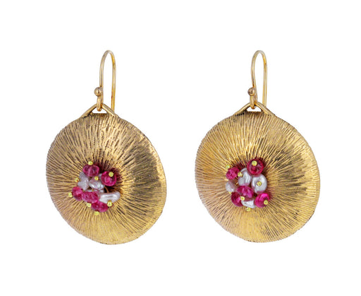 Pink Spinel and Pearl Dandelion Earrings