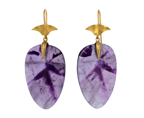 Zoned Amethyst Arrowhead Earrings