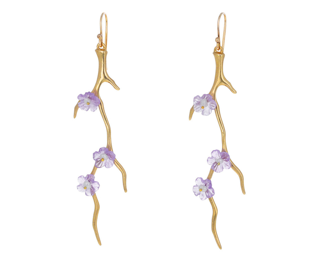 Amethyst and Pearl Dogwood Branch Earrings