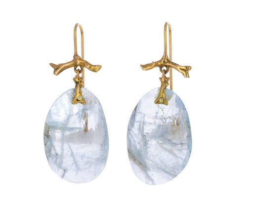Aquamarine Slice Branch Earrings