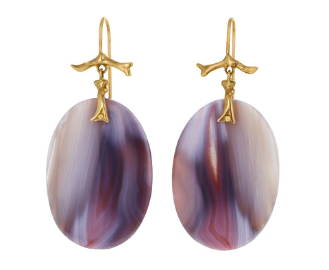 Blush Banded Agate Branch Earrings