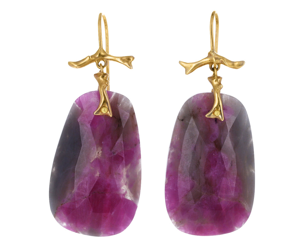 Pink Sapphire Slice Branch Earrings