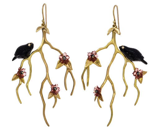 Gold Blossom Branch Earrings with Blackbirds - TWISTonline