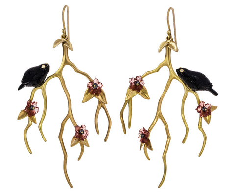Gold Blossom Branch Earrings with Blackbirds