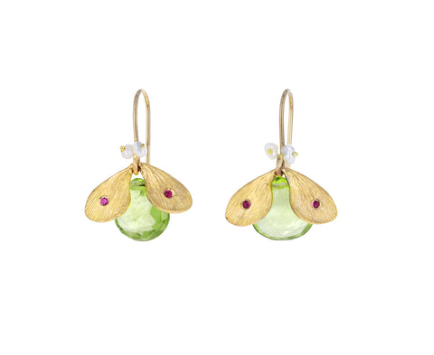 Peridot Jeweled Bug Earrings