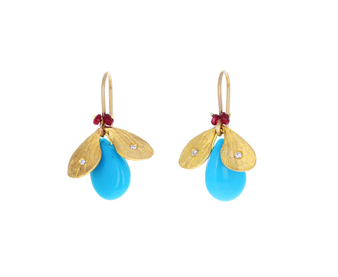 Turquoise Jeweled Bug Earrings