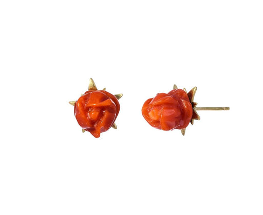 Red Coral Rose Blossom Earrings - TWISTonline