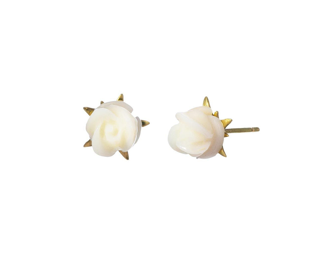 White Coral Rose Blossom Earrings - TWISTonline