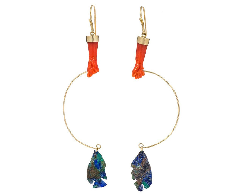 Coral and Azurite-Malachite Gone Fishing Earrings - TWISTonline
