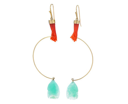 Coral and Chrysoprase Gone Fishing Earrings - TWISTonline