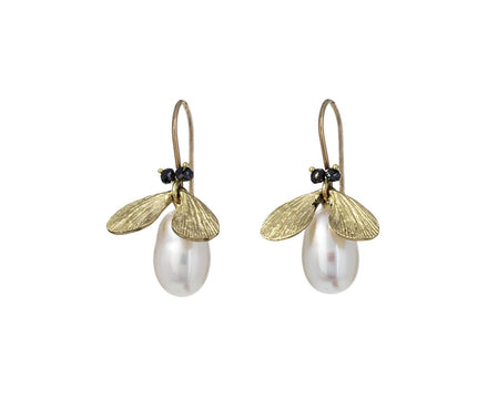Black Diamond and Pearl Jeweled Bug Earrings - TWISTonline