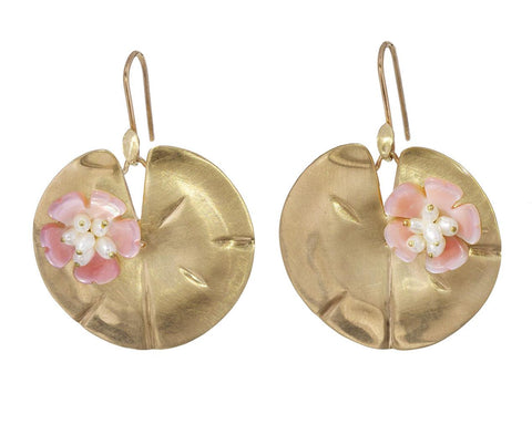 Gold Pink Mother-of-Pearl Lily Pad Blossom Earrings - TWISTonline