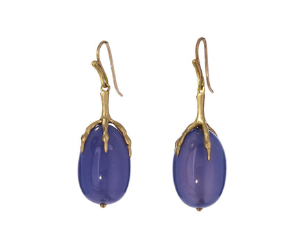 Blue Chalcedony Quail Egg Earrings - TWISTonline